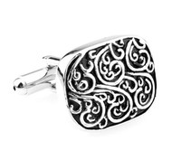 Scroll Black and Silver Cufflinks (V-CF-M6276S)