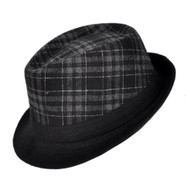 Dark Grey Plaid & Black Fedora Short Brim Fashion Hat