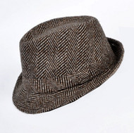 Brown Large Herringbone Design Fedora Short Brim Fashion Hat
