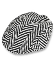 Black & White Large Herringbone Design Wool Blend Irish Flat Cap