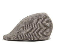 Brown Herringbone Design Wool Blend Cap