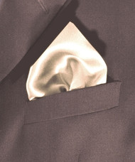 100% Satin Silk Pocket Square 17in x 17in - Off White