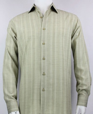 Bassiri Light Olive Crepe Stripe Design Long Sleeve Camp Shirt