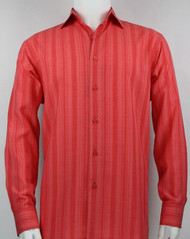 Bassiri Red Crepe Stripe Design Long Sleeve Camp Shirt