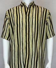 Bassiri Light Yellow and Back Abstract Short Sleeve Camp Shirt