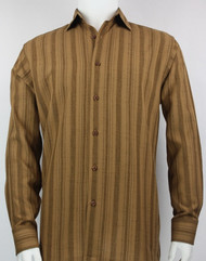 Bassiri Bronze Crepe Stripe Design Long Sleeve Camp Shirt