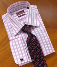 Carreli 2 Ply 100% Cotton Stripe Dress Shirt - French Cuff