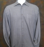 Bobby Chan Silk Long Sleeve Camp Shirt - Black Small Squares