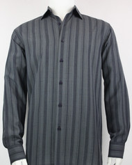 Bassiri Dark Grey Crepe Stripe Design Long Sleeve Camp Shirt