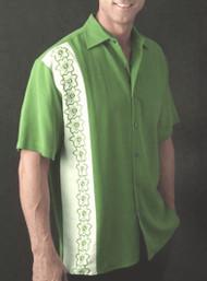Bobby Chan Silk Short Sleeve Camp Shirt - Green Floral