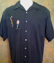 Bobby Chan Silk Embroidery Short Sleeve Camp Shirt - Vintage Golf