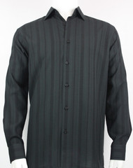 Bassiri Dark Grey-Black Crepe Stripe Design Long Sleeve Camp Shirt