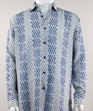 Bassiri Blue and White Tones Abstract Stripe & Line Design Long Sleeve Camp Shirt