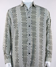 Bassiri  Cream and Black Abstract Stripe & Line Design Long Sleeve Camp Shirt