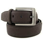 37mm - Bellissimo Double Stitched Genuine Grain Leather Belt - Brown