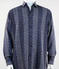 Bassiri Navy & Grey Abstract Stripe & Line Design Long Sleeve Camp Shirt