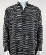 Bassiri Black & Grey Abstract Stripe & Line Design Long Sleeve Camp Shirt