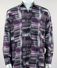 Bassiri Purple & Black  Abstract Block Pattern Long Sleeve Camp Shirt