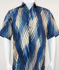 Bassiri Blue Wave Design Short Sleeve Camp Shirt