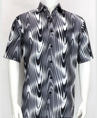 Bassiri Black and White Swirl Short Sleeve Camp Shirt