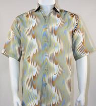 Bassiri Sage Green and Tan Swirl Short Sleeve Camp Shirt