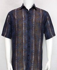 Bassiri Blue Abstract Line Design Short Sleeve Camp Shirt