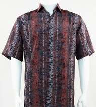 Bassiri Brick Red Abstract Line Design Short Sleeve Camp Shirt