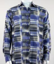 Bassiri Royal & Black Abstract Block Pattern Long Sleeve Camp Shirt