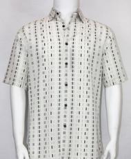 Bassiri White Dot Line Design Short Sleeve Camp Shirt