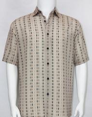 Bassiri Tan Dot Line Design Short Sleeve Camp Shirt