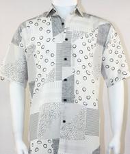 Bassiri White Circle Pattern Short Sleeve Camp Shirt
