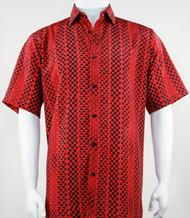Bassiri Red Tribal Design Short Sleeve Camp Shirt