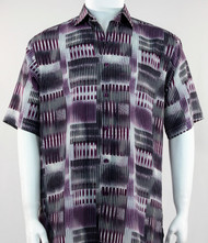 Bassiri Purple Abstract Block Pattern Short Sleeve Camp Shirt