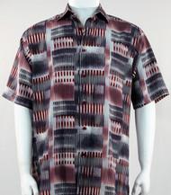 Bassiri Red Abstract Block Pattern Short Sleeve Camp Shirt