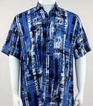 Bassiri Royal Blue and Black Abstract Line Pattern Short Sleeve Camp Shirt