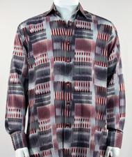 Bassiri Red & Black Abstract Block Pattern Long Sleeve Camp Shirt