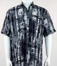 Bassiri Royal Charcoal and Black Abstract Line Pattern Short Sleeve Camp Shirt