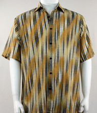 Bassiri Gold & Cream Faded Diagonal Pattern Short Sleeve Camp Shirt