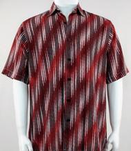 Bassiri Red Faded Diagonal Pattern Short Sleeve Camp Shirt