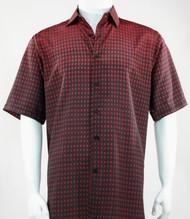 Bassiri Red & Black Faded Block Pattern Short Sleeve Camp Shirt