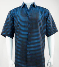 Bassiri Blue & Black Faded Block Pattern Short Sleeve Camp Shirt