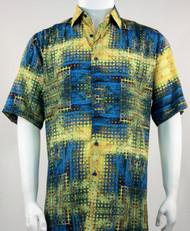 Bassiri Yellow and Blue Mod Abstract Short Sleeve Camp Shirt