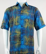 Bassiri Blue and Green Mod Abstract Short Sleeve Camp Shirt