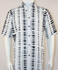 Bassiri White & Black Modern Linear Design Short Sleeve Camp Shirt