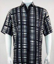 Bassiri Black and Grey Modern Linear Design Short Sleeve Camp Shirt