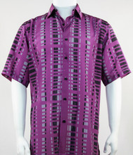 Bassiri Lavender and Grey Modern Linear Design Short Sleeve Camp Shirt