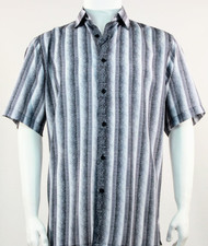Bassiri Muted Grey Line Design Short Sleeve Camp Shirt
