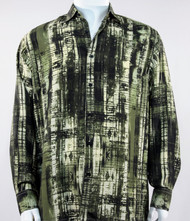 Bassiri Olive & Black Abstract Line Pattern Long Sleeve Camp Shirt