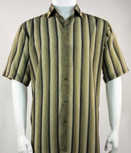 Bassiri Muted Olive Line Design Short Sleeve Camp Shirt