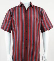 Bassiri Muted Red Line Design Short Sleeve Camp Shirt